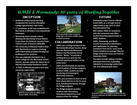 UMSL & Normandy: 50 Years of Working Together